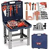 Vetrineinrete® Banco da lavoro officina giocattolo per bambini con utensili cacciaviti pinza sega e trapano 69 pz richiudibile in valigetta F43
