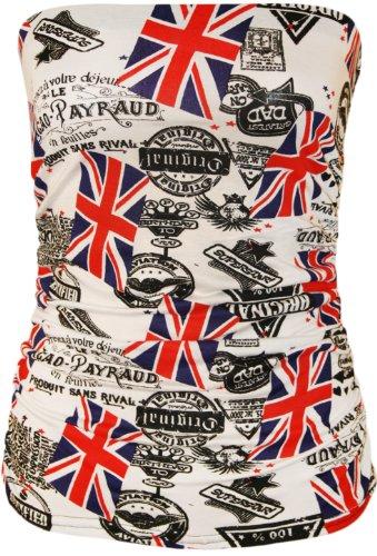 WearAll - Animal aztèque imprimé bustier bandeau top ruché sans bretelles - Hauts - Femmes - Tailles 36 à 42 Union Jack