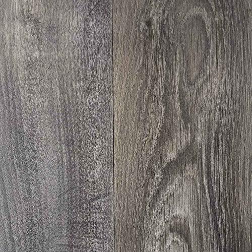 Boden (PVC Vinyl-Bodenbelag in rustikaler Holzoptik Schwarz/Anthrazit | Muster PVC-Belag | CV-Boden wird in benötigter Größe als Meterware geliefert | rutschhemmend)