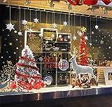 ufengke Fröhliche Weihnachten Silber Weihnachtsbaum Elch Silbernen Sternen Schaufenster Wandsticker,Wohnzimmer Schlafzimmer Entfernbare Wandtattoos Wandbilder