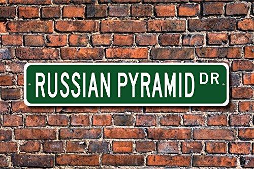 Russische Pyramide Schild Russische Pyramid Fan Geschenk Billard Player Street Art Wall Decor Aluminium Metall Schild 45x 10cm -
