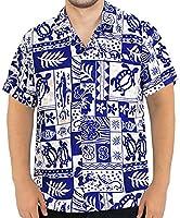 POCKET FRONT LUAU PARTY CARIBBEAN CAMP HAWAIIAN SHIRT MENS 993 White_R_Blue L