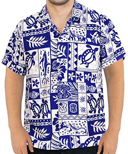 *La Leela* Shirt Camicia Hawaiana Uomo XS - 5XL Manica Corta Hawaii Tasca-Frontale Stampa Hawaiano Casuale Regular Fit Blu Reale993 L