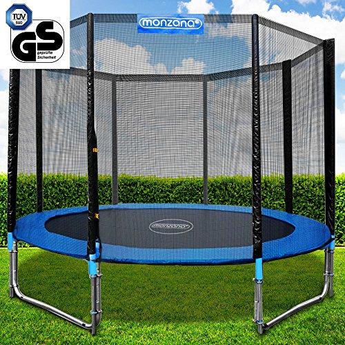 Gartentrampolin Trampolin | TÜV SÜD GS zertifiziert | Ø 305 cm | Komplettset inkl. Sicherheitsnetz, Leiter, Federabdeckung & Zubehör - Kindertrampolin
