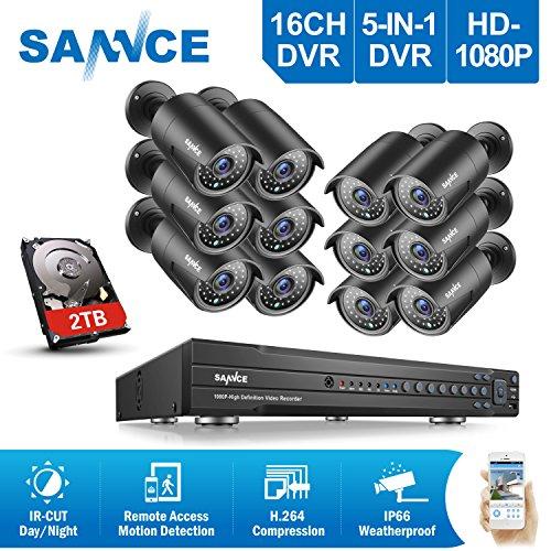 SANNCE-Kit-CCTV-de-12-Cmaras-Metal-de-vigilancia-Sistema-de-seguridad-para-hogarOnvif-H264-16CH-DVR-TVI-1080P-y-12-cmaras-CCTV-2MP-IP66-Impermeable-2TB-Disco-duro-de-vigilancia