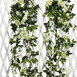Justoyou künstliche Rosengirlande, Hängedeko, mit Blättern, für Hochzeiten, 2er Pack weiß