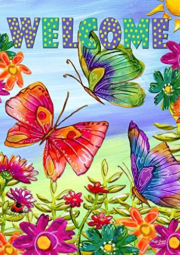 Flutter Butterfly Garden (Toland Home Garden 1112413 Welcome Butterfly Field 12,5x45,7 cm Dekorative Gartenflagge)