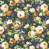 Fabulous Fabrics Canvas Blumenbouquet groß 3 – Navy —