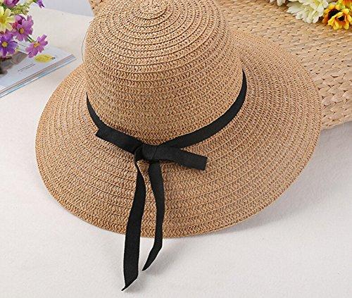 Surker Simple Mode f¨¦minine Summer Beach Chapeau de Paille Floppy Sun Hat blanc laiteux