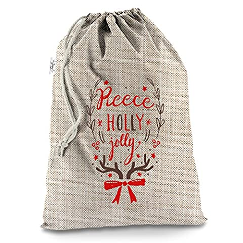 Holly Jolly Christmas personalisierbar Großer hessischer Weihnachten Santa Sack Mail