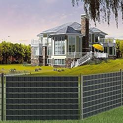 GOTOTOP 70m PVC Zaun Folie Zaun Sichtschutz, Sichtschutzstreifen für Stabmattenzaun mit 20 Stück Kunststoffklammern, 19 cm x 70 m