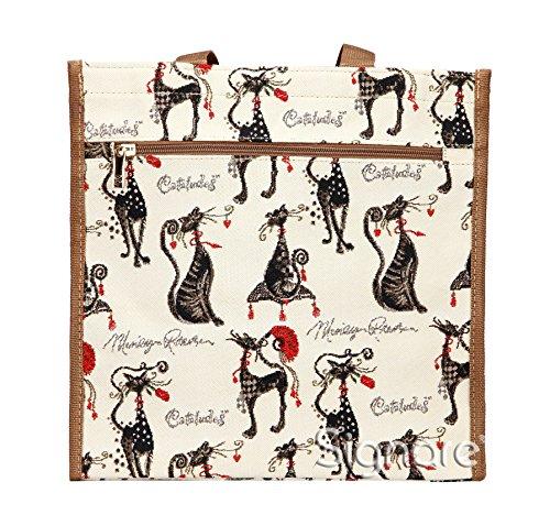 Borsa donna Signare in tessuto stile arazzo Shopping alla moda animale Gatto Atteggiamento
