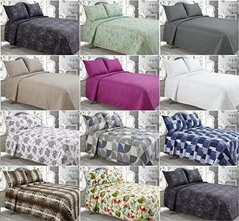 NEW 3pc Luxury Quilted BEDSPREADS / THROWS with PILLOW CASES FREE ~ XMAS GIFT IDEA ~ Super Quality Comforter Bedspreads COTTON TOUCH ~ One Standard Size fit DOUBLE & KING Size (240cm x 260cm (Approx),
