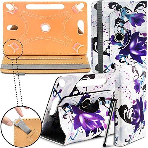 ZTE Light Tab 3 V9S Neues Design Universelle um 360 Grad drehbare PU-Leder Designer bunte Hülle mit Standfunktion - Cover - Tasche - Purple Flowers / lila Blumen - Von Gadget Giant®