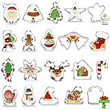 Uitsteekvormpjes, kerstset, 20 stuks, fondant, koekjessnijders van roestvrij staal, koekjesvormpjes, koekjesvormen voor motie
