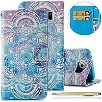 Herbests Handyhülle für Samsung Galaxy S6 Handytasche Dünn Bookstyle Klapphülle Luxus Glitzer Glänzend Wallet Hülle Ledertasche Lederhülle Flip Case Handy Schutzhülle,Blau Mandala
