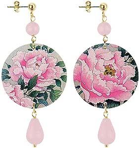 in Lebole Collezione The Circle DPOR13 Fiore Rosa Orecchini da Donna in Ottone Pietra Rosa