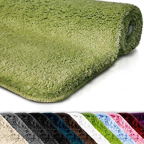 Badematte | Kuscheliger Hochflor | Rutschfester Badvorleger | Viele Größen | Zum Set Kombinierbar | Öko-Tex 100 Zertifiziert | 60x50 cm | Apple Green (Grün)