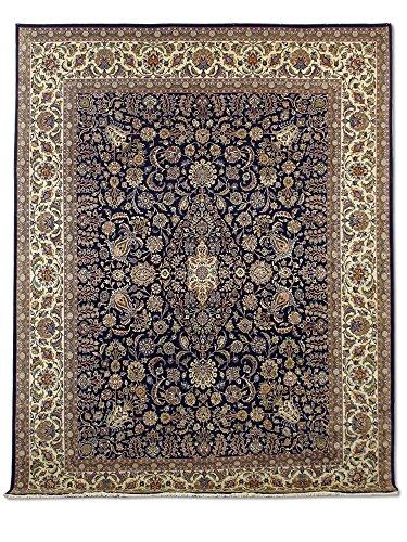 Tradizionale a mano Kashan tappeto persiano, lana, blu scuro, 276x