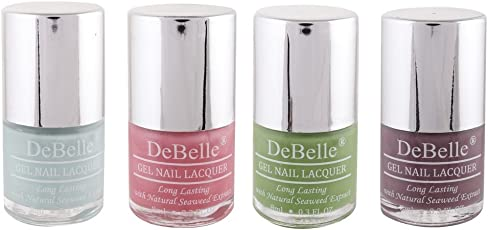 DeBelle Nail Polish Combo Kit of 4 (Mint Blue, Pink, Pastel Green & Mauve)(Birthday gifts for girls)