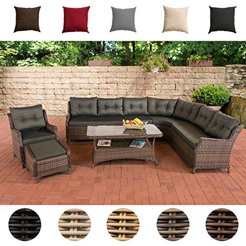 CLP Gartengarnitur PANDORA | Sitzgruppe mit 8 Sitzplätzen | Gartenmöbel-Set aus Polyrattan | Komplett-Set bestehend aus einem Ecksofa, einem Sessel und einem Beistelltisch | In verschiedenen Farben erhältlich | Rattanfarbe: Grau-meliert, Kissenfarbe: Terrabraun