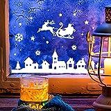 Fensterbild Weihnachtsmann an Weihnachten Winter Fensterdeko 28x16cm Fensterbilder Winterlandschaft + Sterne & Schneeflocken M2263 ilka parey wandtattoo-welt®
