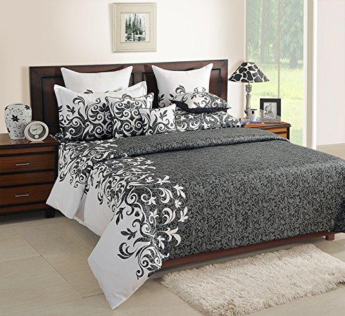 Yuga 100% Baumwolle Blumenschwarzweiss-Premium-Qualität Bettwäsche Gefärbtes Garn Komplettes Bett In Einem Beutel -