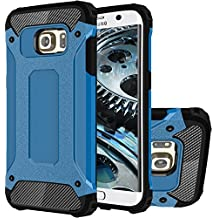 Galaxy S6 Edge+ Funda, HICASER Híbrida Case [Heavy Duty] Rugged Armor Cover, Dual Layer Shock Resistant Carcasa para Samsung Galaxy S6 Edge Plus Azul