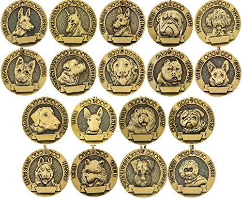 Vcalabashor Dog Tags/Bronze klassisch mit Pet Tags für den Kopf mit Hund Portrait Print/kleine mittlere große Rassen