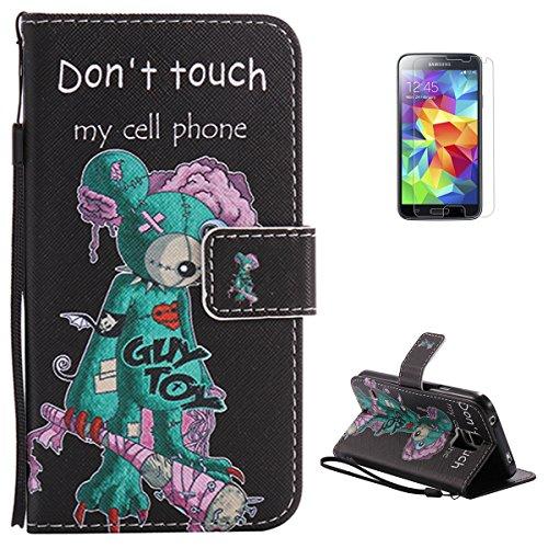 KaseHom for Samsung Galaxy S5 Buntes Leder Hülle Premium Folio Magnetischer Flip Leder Brieftasche (Süßer Bär) Muster Entwurf Federung Stoßstange Schützend Haut Abdeckung Halfter