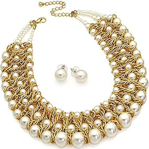 Chunky woven wire gold layered faux pearl earrings necklace jewellery set