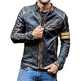 Mens Real Leather Biker Cafe Racer Vintage Motorcycle Distressed Black Genuine Leather Jacket