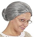 shoperama Oma Damen Perücke grau meliert Dutt Greisin Alte Großmutter Omi Märchen Haare Knoten Haarnetz