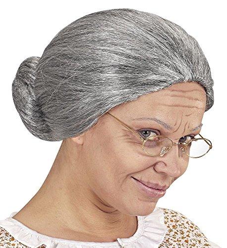 shoperama Oma Damen Perücke grau meliert Dutt Greisin Alte Großmutter Omi Märchen Haare Knoten Haarnetz (Strenge Lehrerin Kostüm)