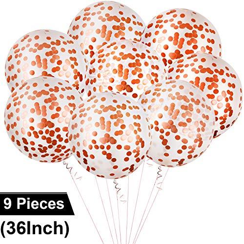 8 Stücke Konfetti Luftballons Latex Jumbo Größe Luftballons Riesige Runde Luftballons für Hochzeit Fest Baby Dusche (Rosa Gold)