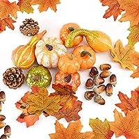 Juego de 70 piezas de decoración de Acción de Gracias, hojas de arce artificiales, calabaza de cosecha, bellotas pequeñas, conos de pino y calabazas para decoración de otoño, otoño y Halloween