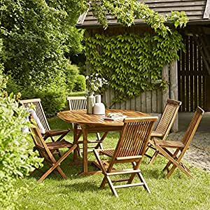 salon de jardin en bois de teck 6 8 places jardin. Black Bedroom Furniture Sets. Home Design Ideas