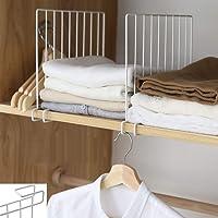 Inditradition Wardrobe Shelf Divider, Cloth Organizer | Wardrobe Closet Separator (Metal, White) (Pack of 2)