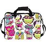 """Snoogg Eamless Owl Pattern 14"""" 14.5"""" 14.6"""" Inch Laptop Notebook SlipCase With Shoulder Strap Handle Sleeve Soft Case With Shoulder Strap Handle Carrying Case With Shoulder Strap Handle For Macbook Pro Acer Asus Dell Hp Sony Toshiba"""
