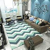 QAZ Hochwertige Super weiche Decke Nordic Wind geometrische Wohnzimmer Sofa Couchtisch Wolldecke Einfache, moderne Schlafzimmer rechteckige Bett Fußbodenbelag (Grüne Welle) Nordischen Designer Rutschhemmende Nicht reizend Teppich (Größe: 140 * 200 cm)