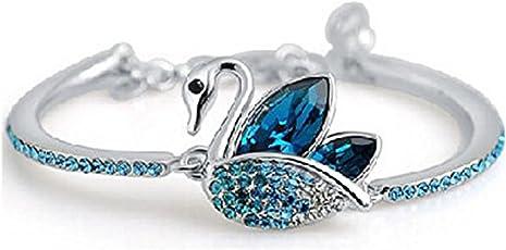 Shining Diva Fashion Blue Platinum Plated Austrian Crystal Kadaa Bangle Bracelet for Women & Girls (Blue) (r7897b)