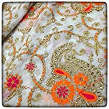 #6: Fab Couture Georgette Embroidery-Orange Unstitched Fabric
