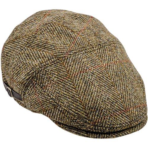 Sterkowski Harris Tweed Schiebermütze Ivy League Schlägermütze Flat Cap 61 cm Gelb (Herren Tweed Vintage Harris)