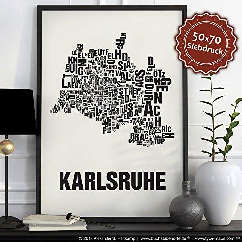 Karlsruhe Buchstabenort Schwarz auf Naturweiß