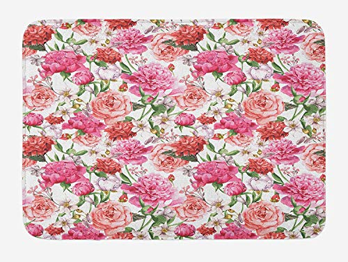 ZKHTO Watercolor Flower Bath Mat, Victorian Floral Pattern Painting Style Print with Peonies and Roses, Plush Bathroom Decor Mat with Non Slip Backing, 23.6 W X 15.7 W Inches, Pink Red White -