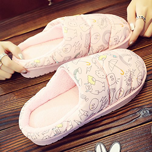 Inverno fankou cotone femmina pantofole home Cartoon carino coperta spessa caldo gli uomini maglione con coppia di peluche Rosa