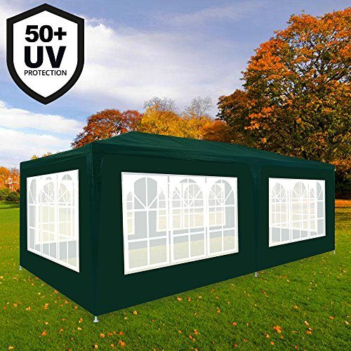Deuba® Festzelt Rimini 3x6m grün | 18m² Pavillon mit aufrollbaren 6 Seitenwänden | 18 Rundbogenfenster | wasserabweisend | UV-Schutz 50 + | Farbauswahl