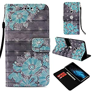 Shinyzone Flip Brieftasche Hülle für Sony Xperia XZ3,Daisy 3D Bunt Gemälde Ledertasche mit Kartenfach und Magnetverschluss Standfunktion Handyhülle