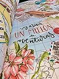 BON VOYAGE Vintage Weltkarte Travel Print Baumwolle