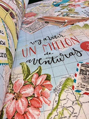 BON VOYAGE Vintage Weltkarte Travel Print Baumwolle Stoff-für Schneidern Vorhänge 140cm breit (Meterware) -
